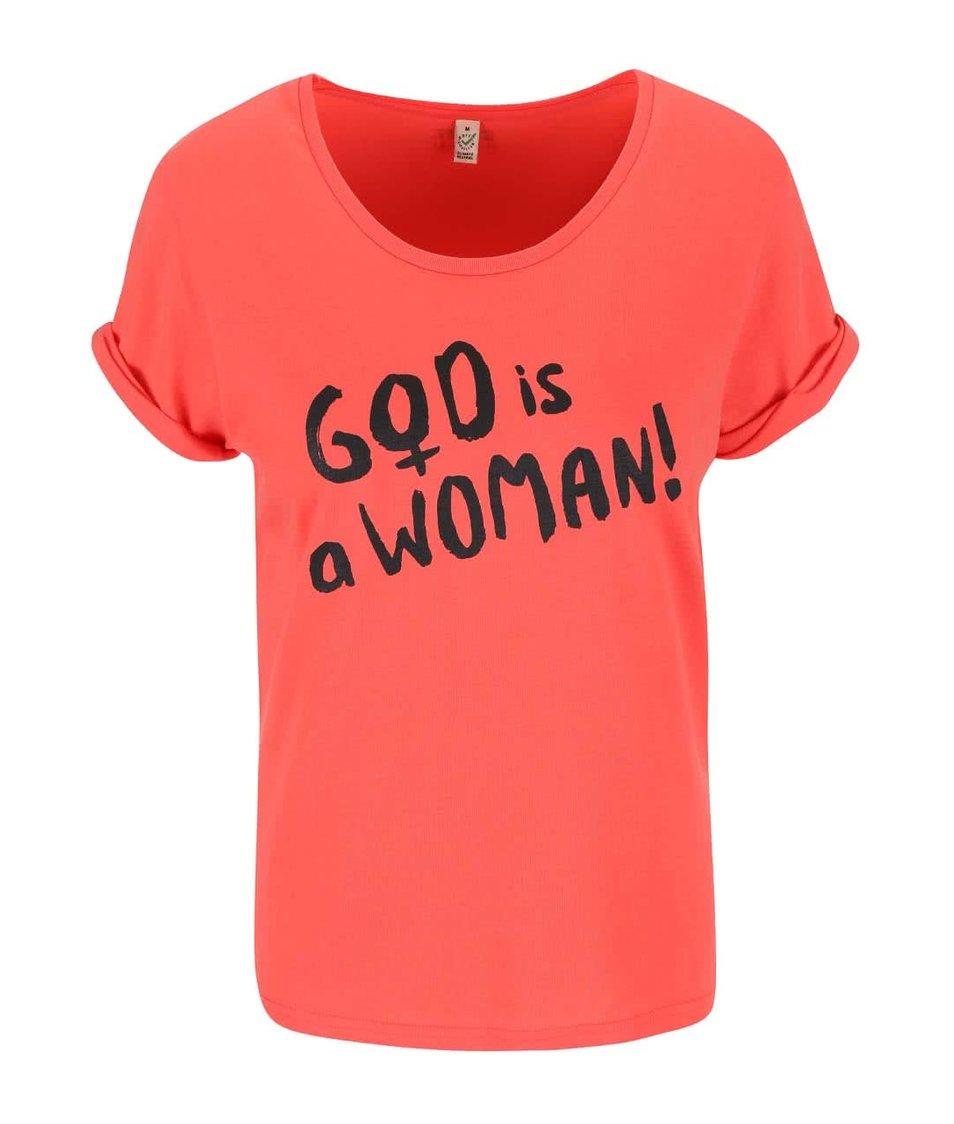 Korálové dámské tričko ZOOT Originál God Is A Woman