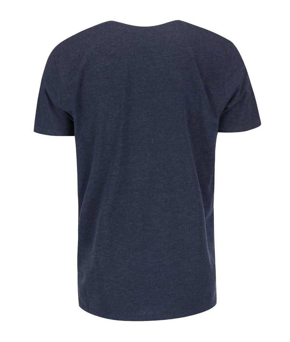 Modrošedé triko s potiskem !Solid Brigton