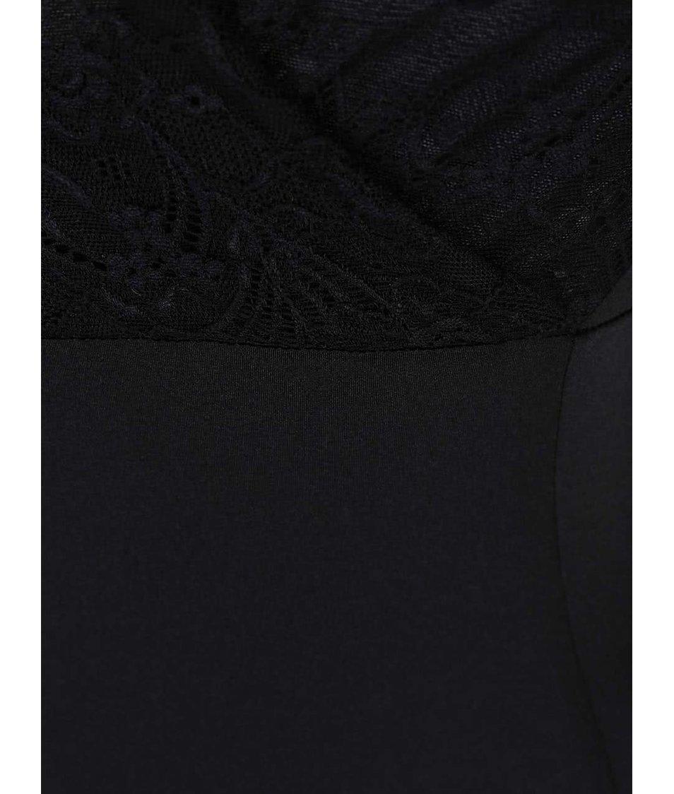 Černé krajkované body s dlouhým rukávem Y.A.S Coco