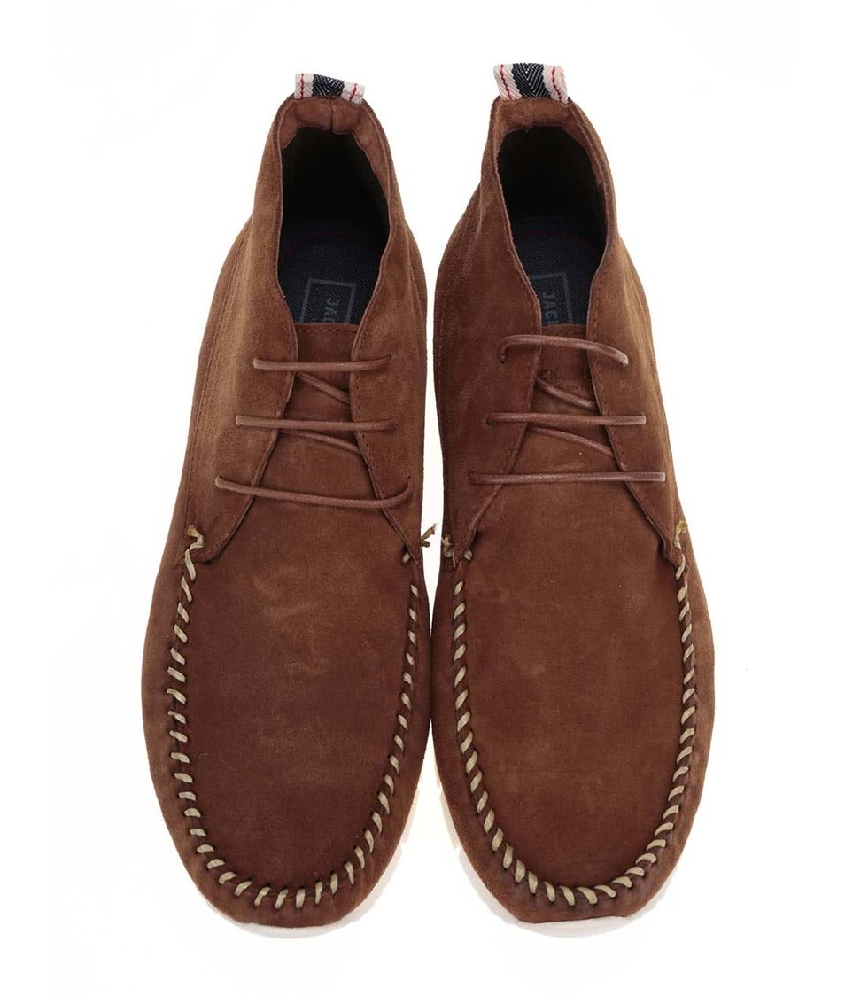 Hnědé kožené kotníkové boty Jack & Jones Moc