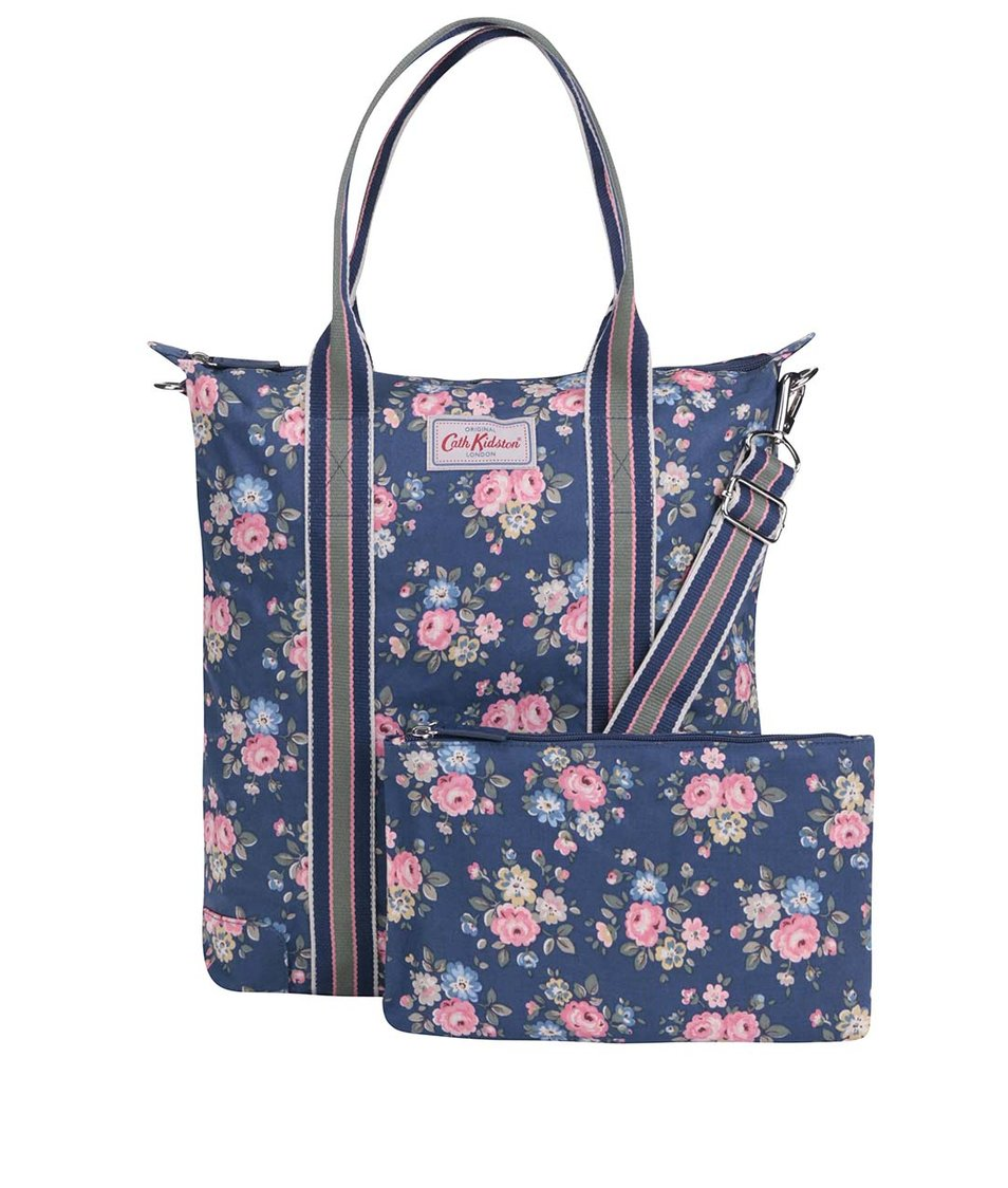 Tmavě modrý květovaný shopper s pouzdrem Cath Kidston
