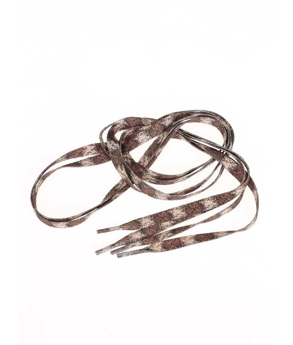 Hnědé tkaničky s hadím vzorem Tubelaces (120 cm)