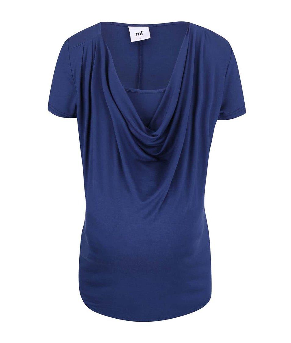 Modré tričko s vodou ve výstřihu Mama.licious Natalia