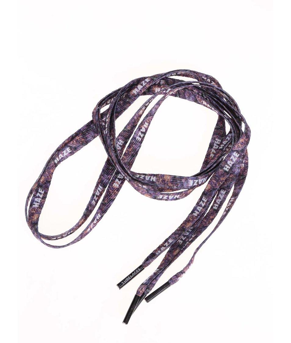 Fialové tkaničky s bílým textem Tubelaces (130 cm)