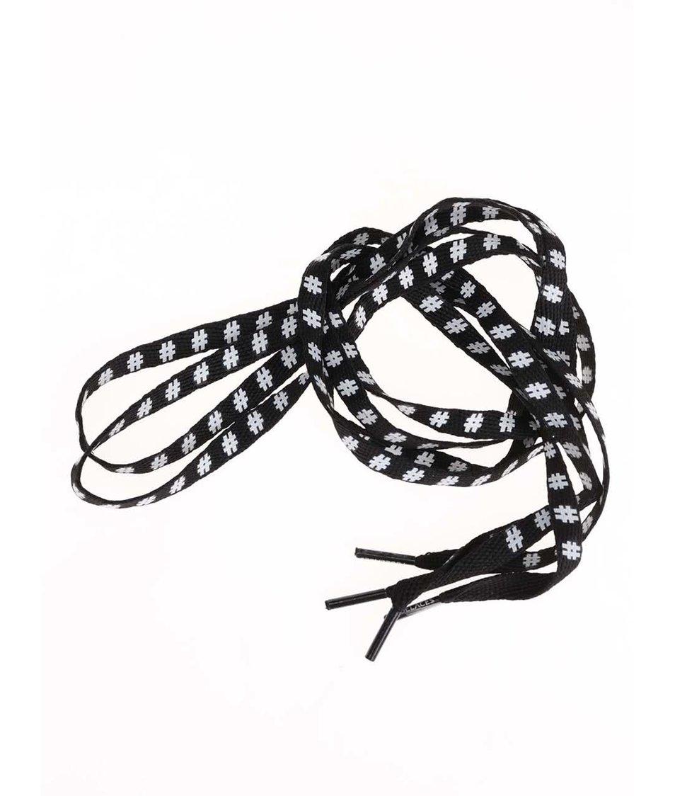 Černé tkaničky se vzorem hashtagů Tubelaces (130 cm)