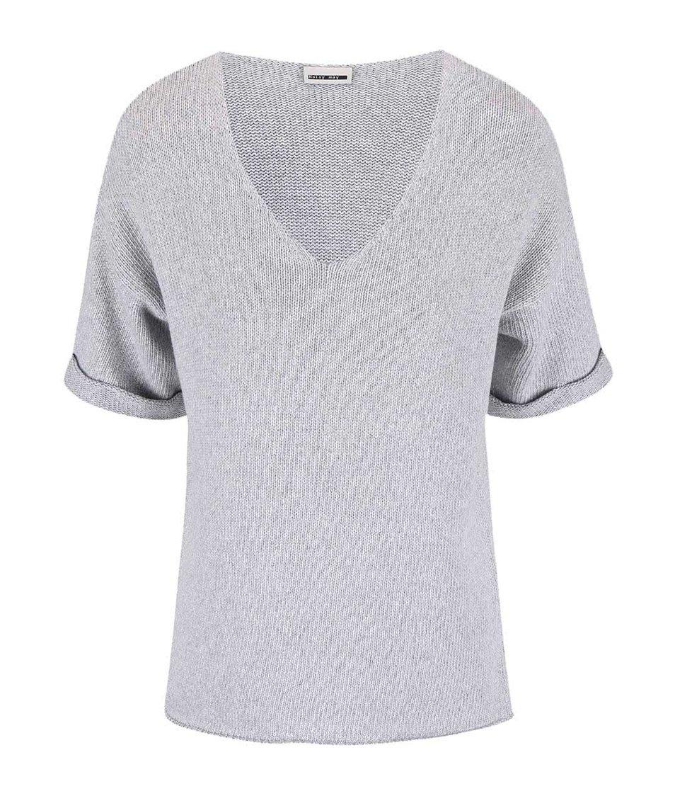 Šedý svetr s krátkým rukávem Noisy May Malin