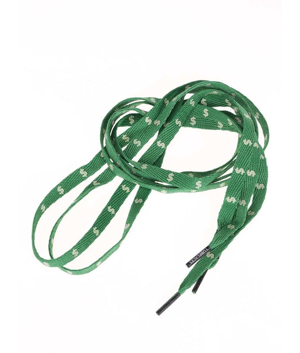 Zelené tkaničky s potiskem dolarů Tubelaces (130 cm)