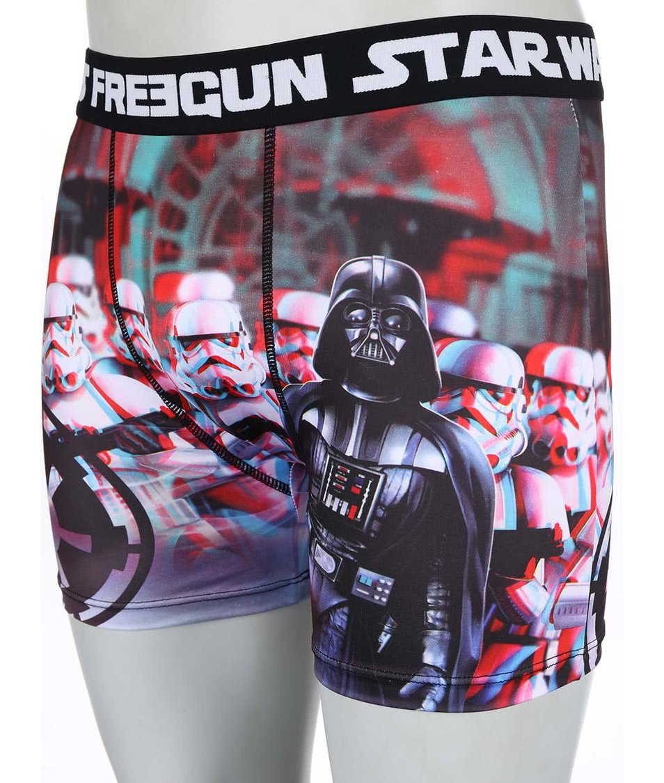 Modro-červené boxerky s trojrozměrným potiskem a 3D brýlemi Star Wars Freegun
