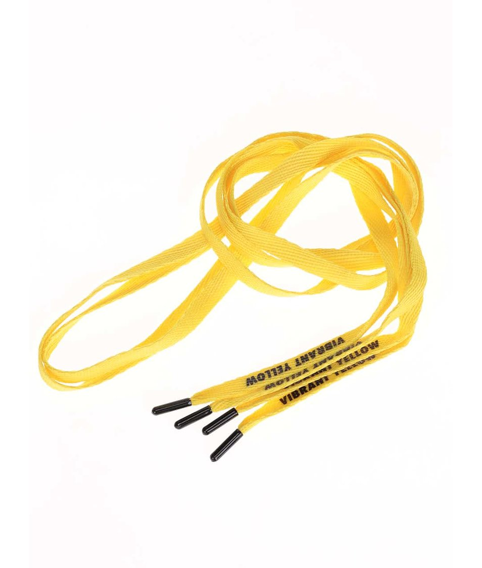 Žluté tkaničky s černým textem Tubelaces (130 cm)