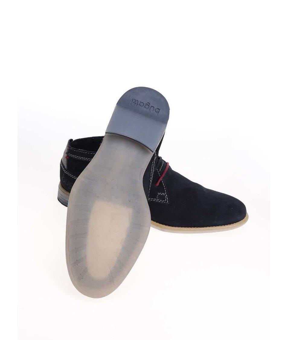 Tmavě modré pánské kožené boty s červenými detaily bugatti