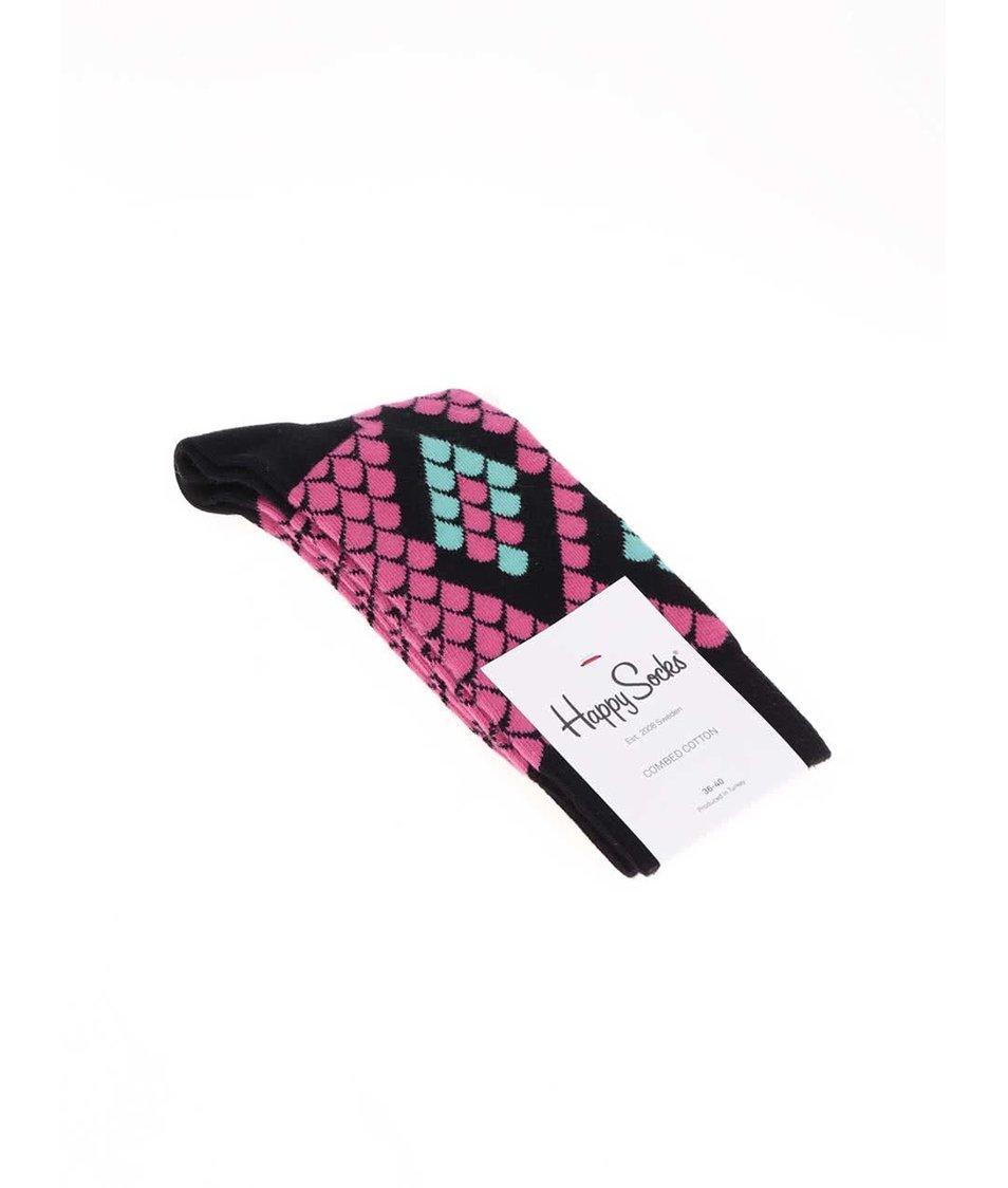 Černo-růžové dámské ponožky s hadím motivem Happy Socks Snake