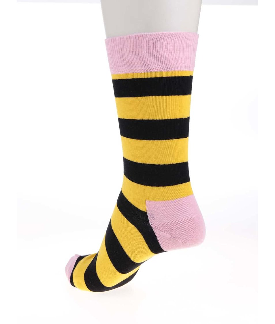 Černo-žluté pruhované dámské ponožky Happy Socks Stripe
