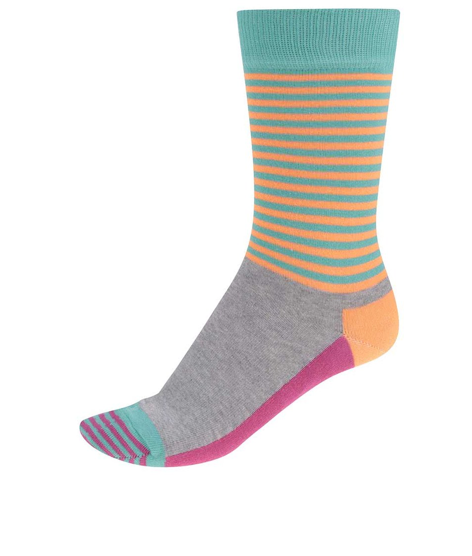 Oranžovo-zelené dámské ponožky Happy Socks Half Stripe