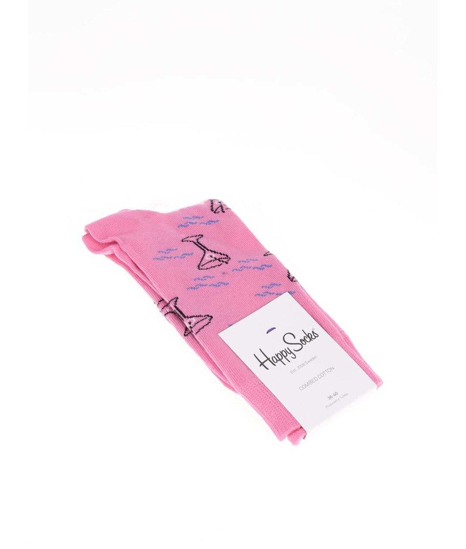 Růžové dámské ponožky se vzorem Happy Socks Cocktail