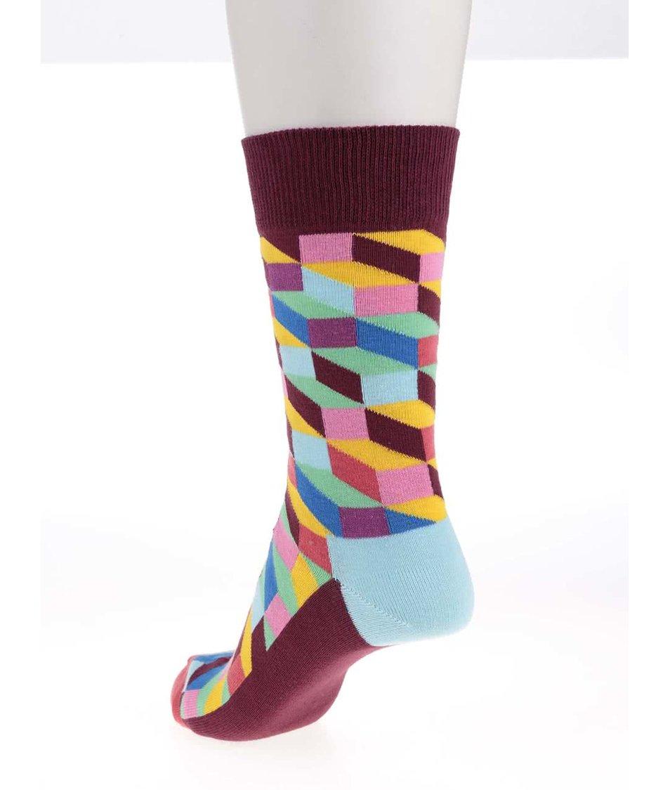 Modro-vínové dámské ponožky se vzorem Happy Socks Filled Optic