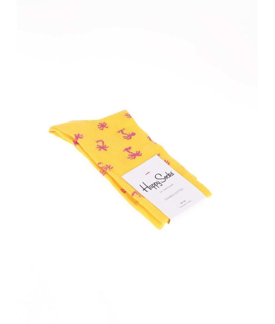 Žluté dámské ponožky s palmami Happy Socks Palm Beach