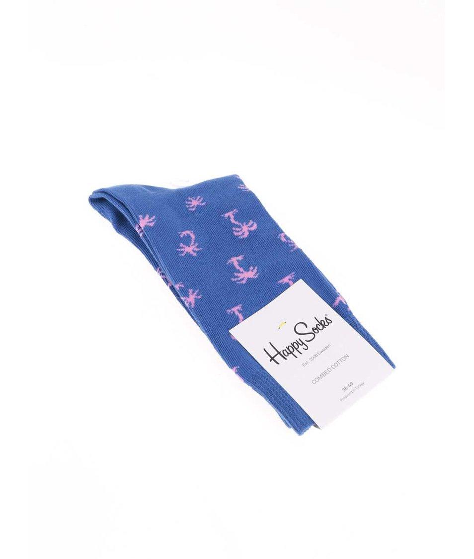 Modré dámské ponožky s palmami Happy Socks Palm Beach
