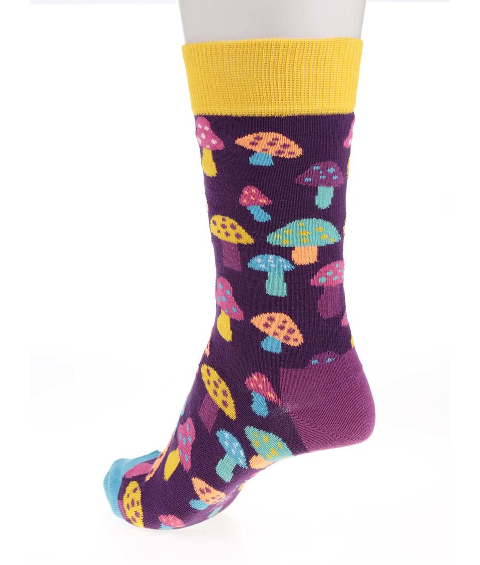 Fialové dámské ponožky s houbičkami Happy Socks Shrooms