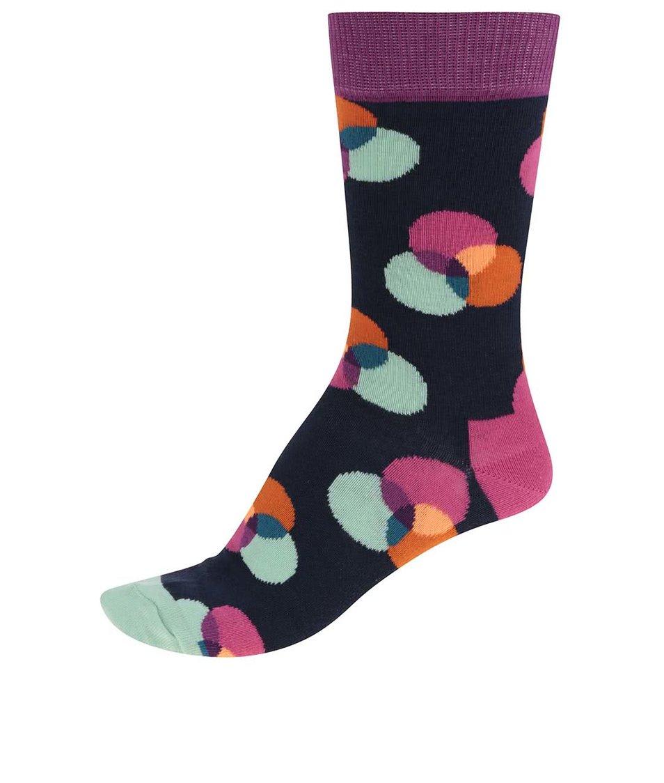 Tmavě modré dámské ponožky s barevnými kruhy Happy Socks Spectrum