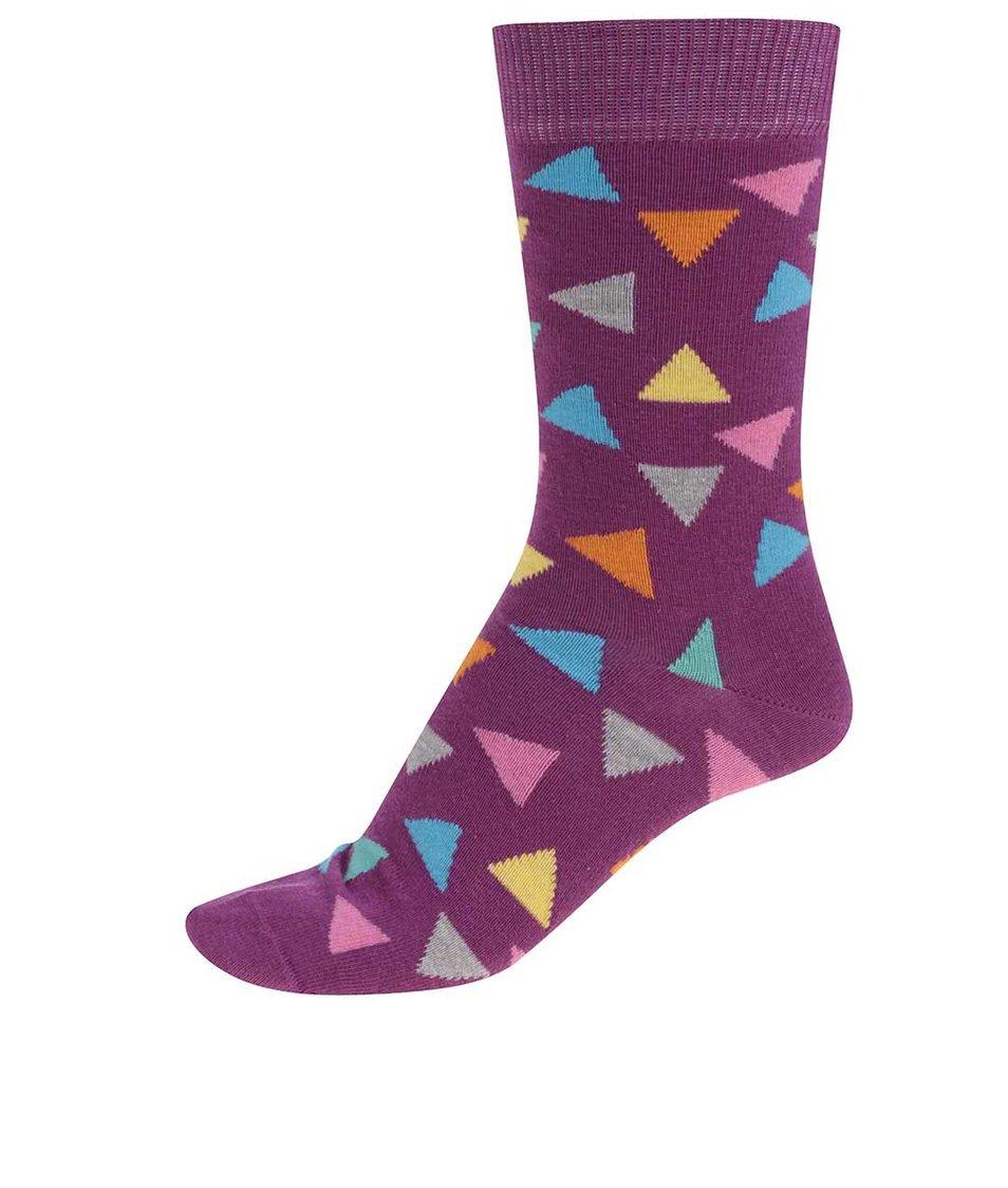 Fialové dámské ponožky s trojúhelníky Happy Socks Triangle
