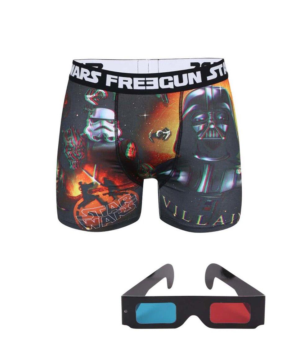 Oranžovo-černé boxerky s trojrozměrným potiskem a 3D brýlemi Star Wars Freegun