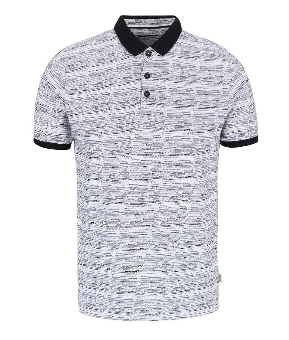 Bílé vzorované polo triko s kontrastními lemy Bellfield Wrexham