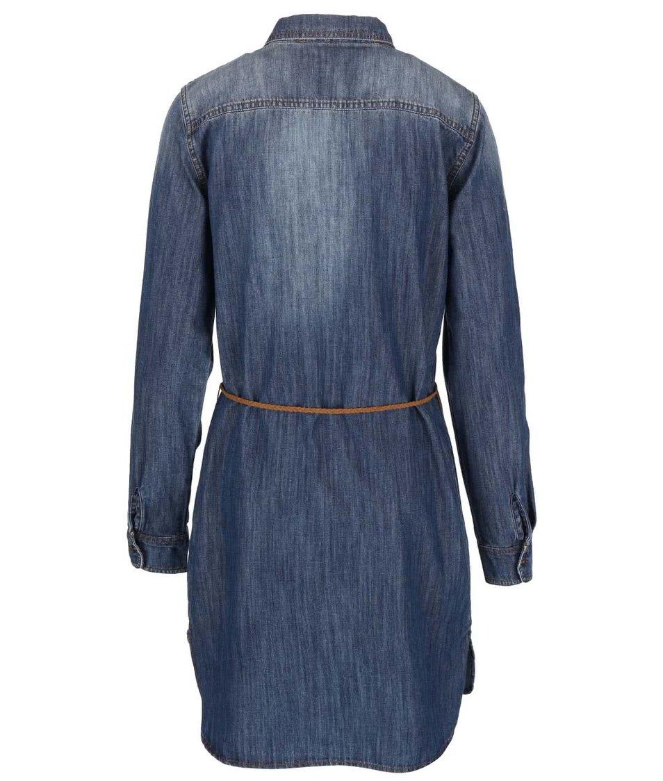 Džínové šaty s hnědým páskem ONLY Henna