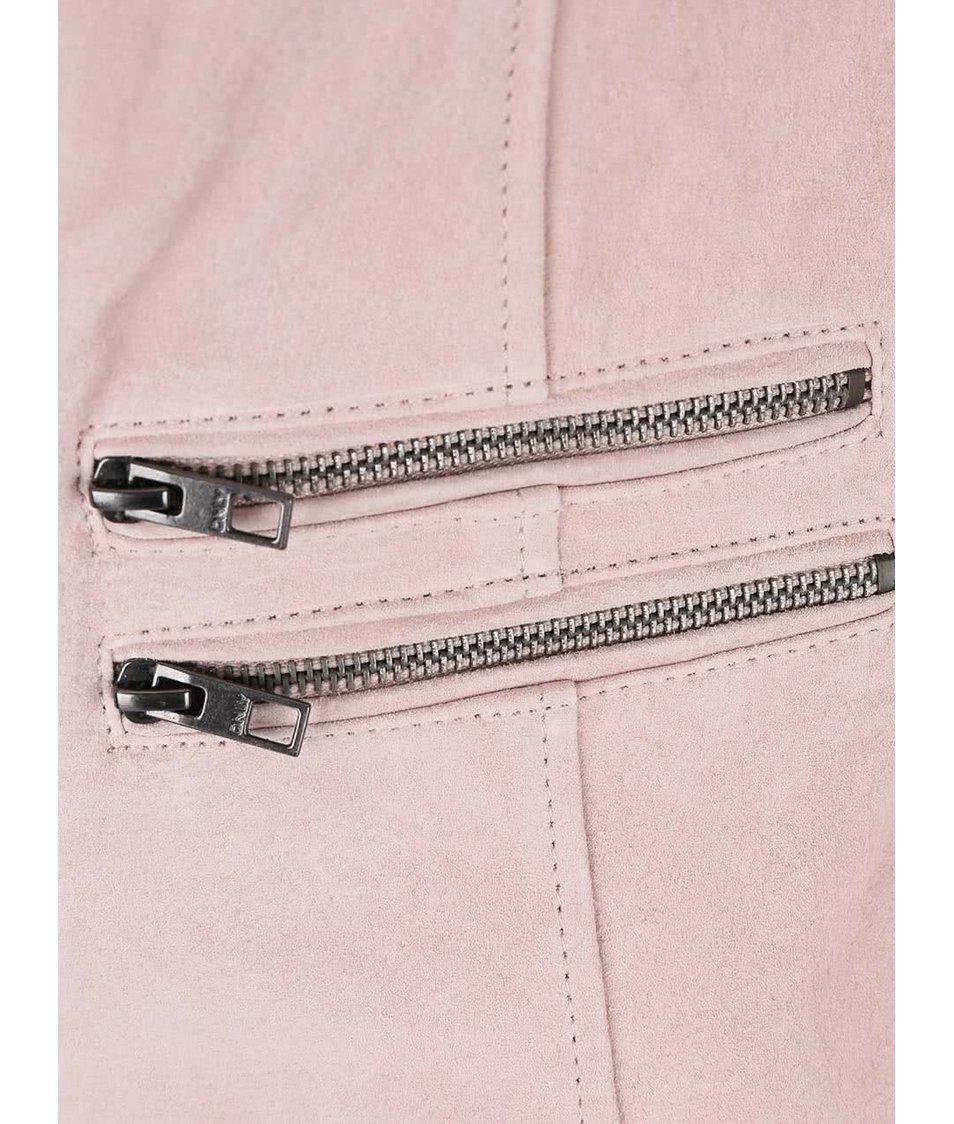 Světle růžový kožený křivák ONLY Justine