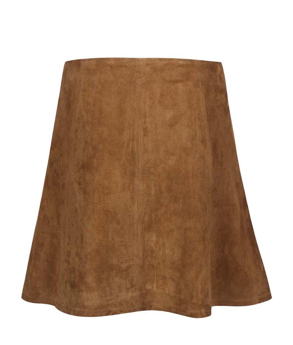 Hnědá kožená sukně na patenty ONLY Fortune