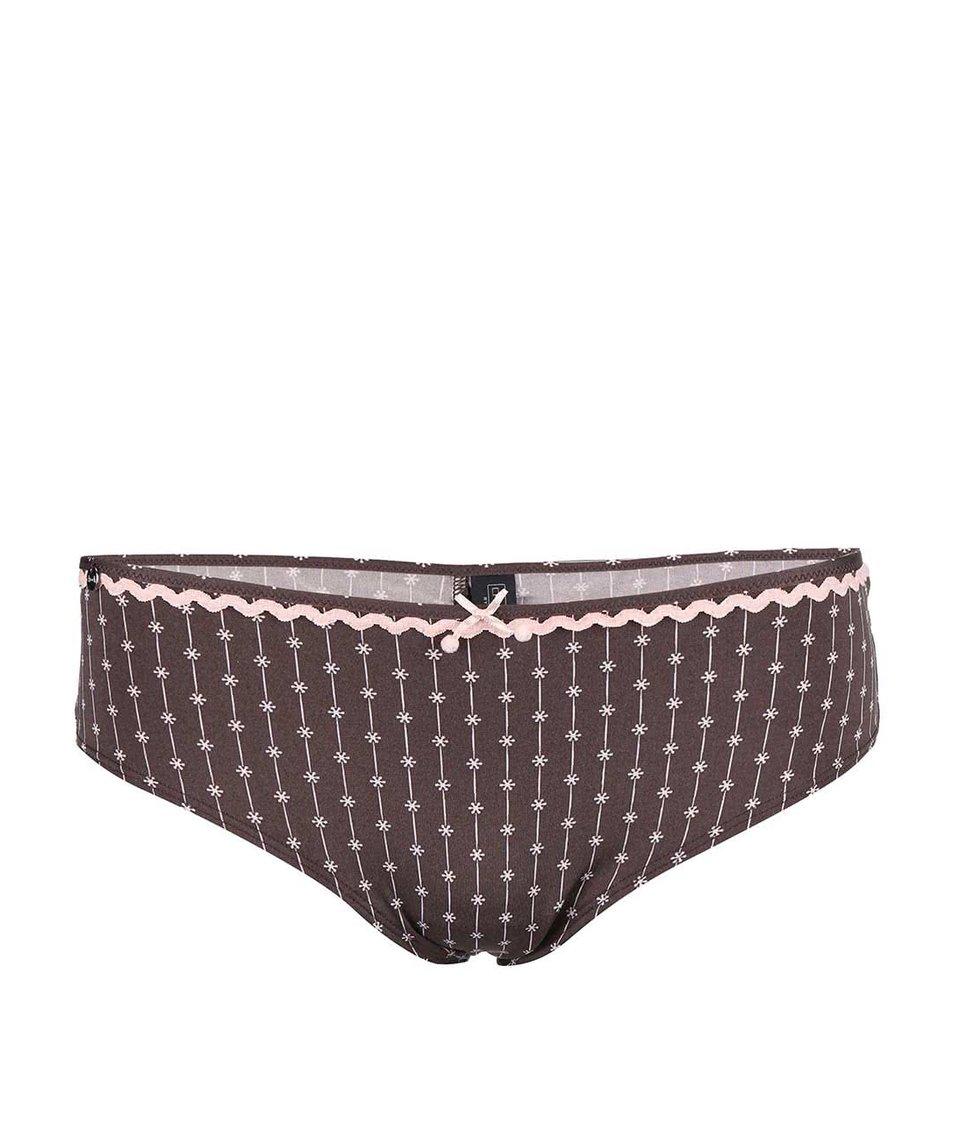 Růžovo-hnědé kalhotky se vzorem drobných kvítků Lisca Wittily