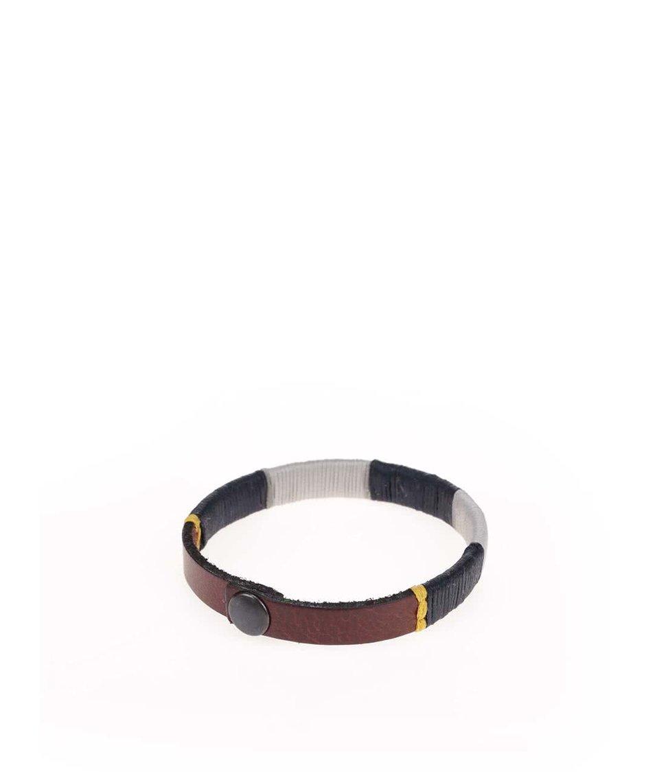 Hnědý kožený náramek s bílým a modrým detailem Jack & Jones Accolor