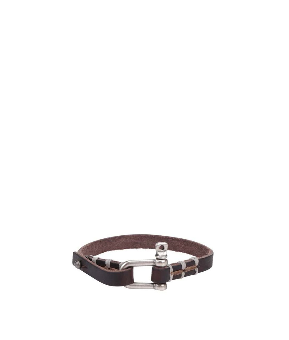 Hnědý kožený náramek s kovovým detailem Jack & Jones Accolor