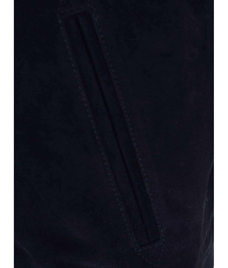 Tmavě modrá kožená bunda se semišovou úpravou Bellfield Tupello