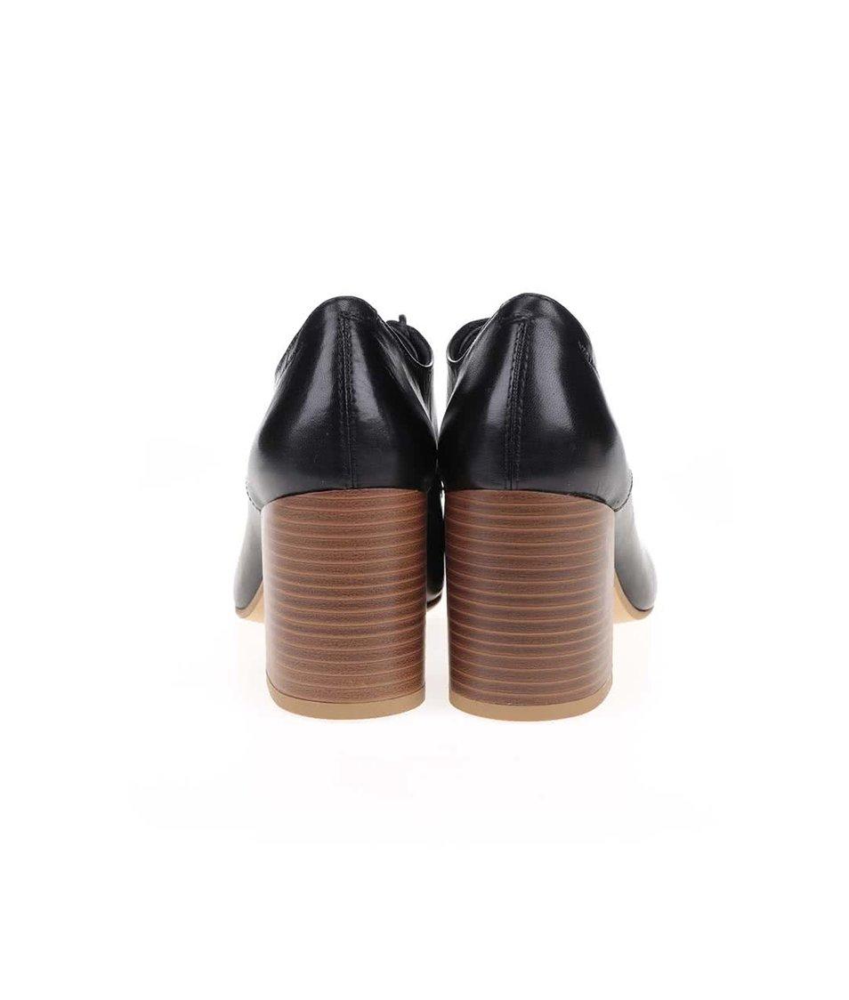 Černé kožené polobotky na podpatku Vagabond Kaley