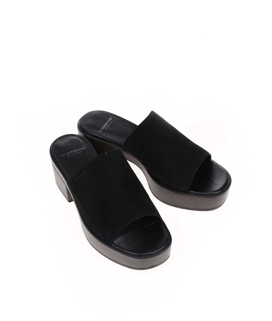 Černé kožené sandály na podpatku Vagabond Noor