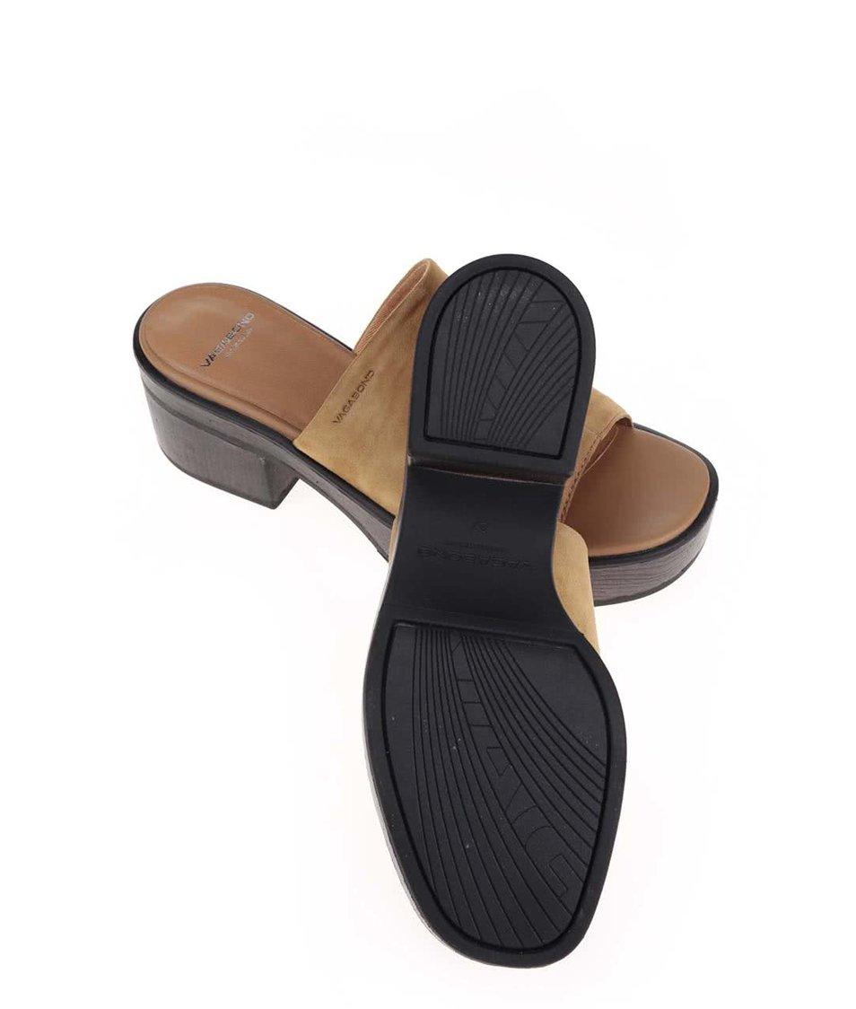 Béžové kožené sandály na podpatku Vagabond Noor