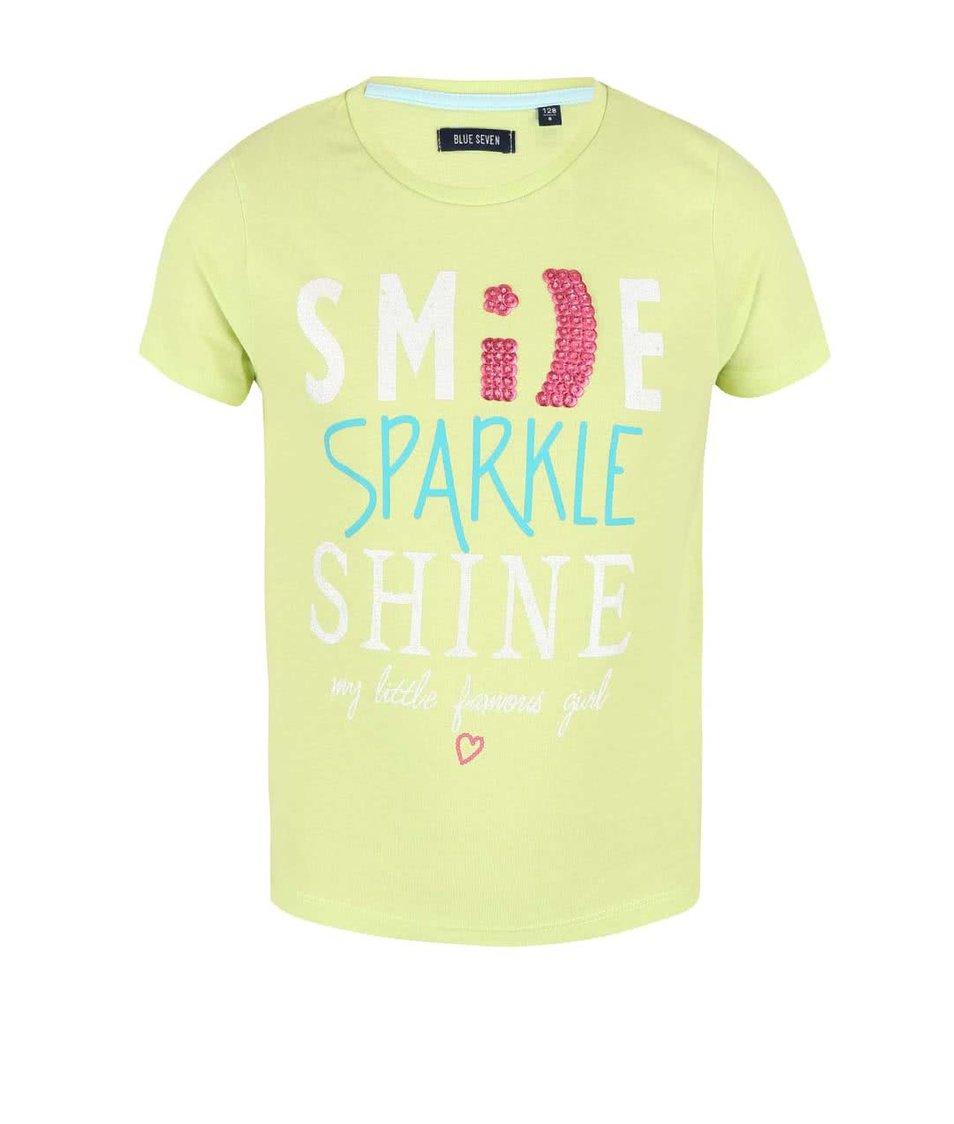 Žlutozelené holčičí tričko s potiskem Blue Seven Fashion Gang