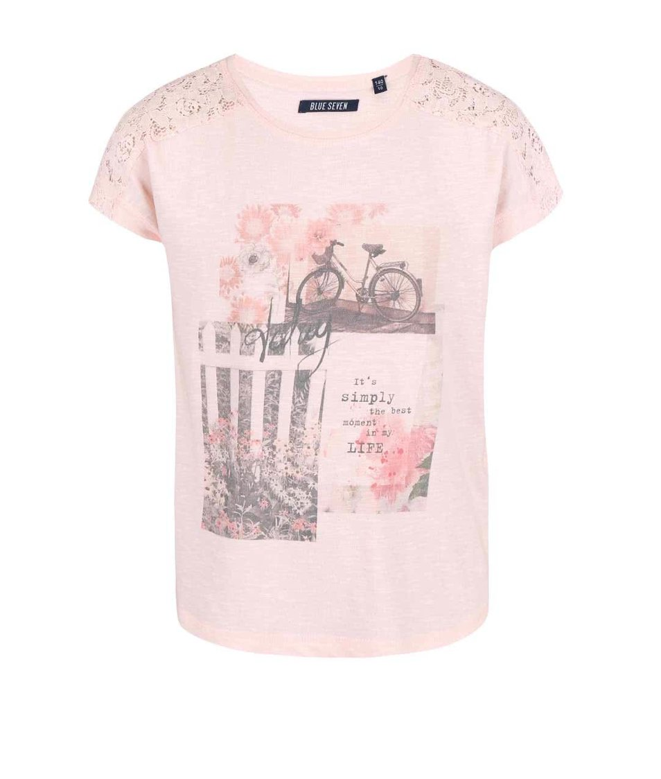 Starorůžové holčičí tričko s romantickým motivem Blue Seven