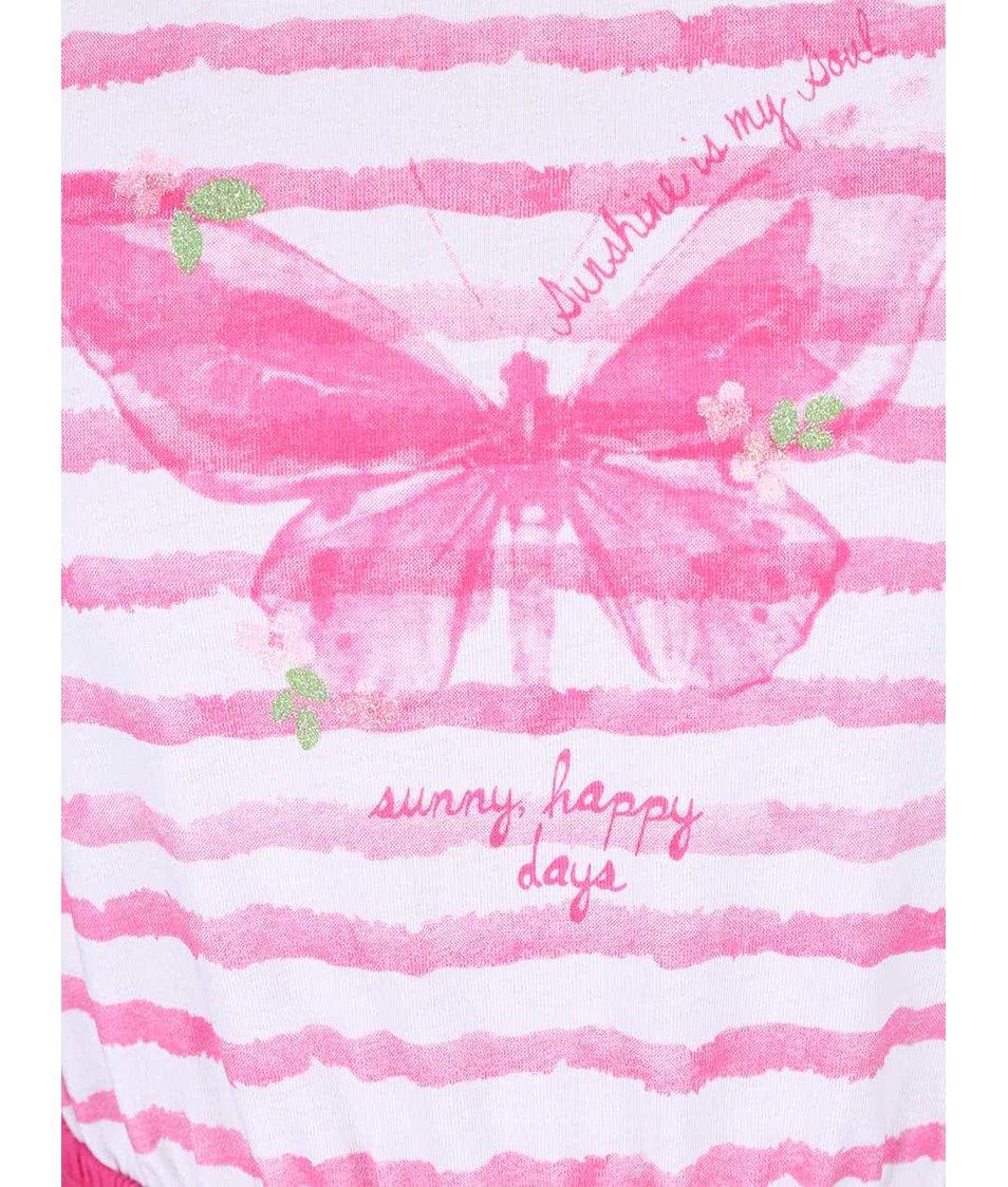 Bílo-růžové holčičí šaty s potiskem motýla Blue Seven