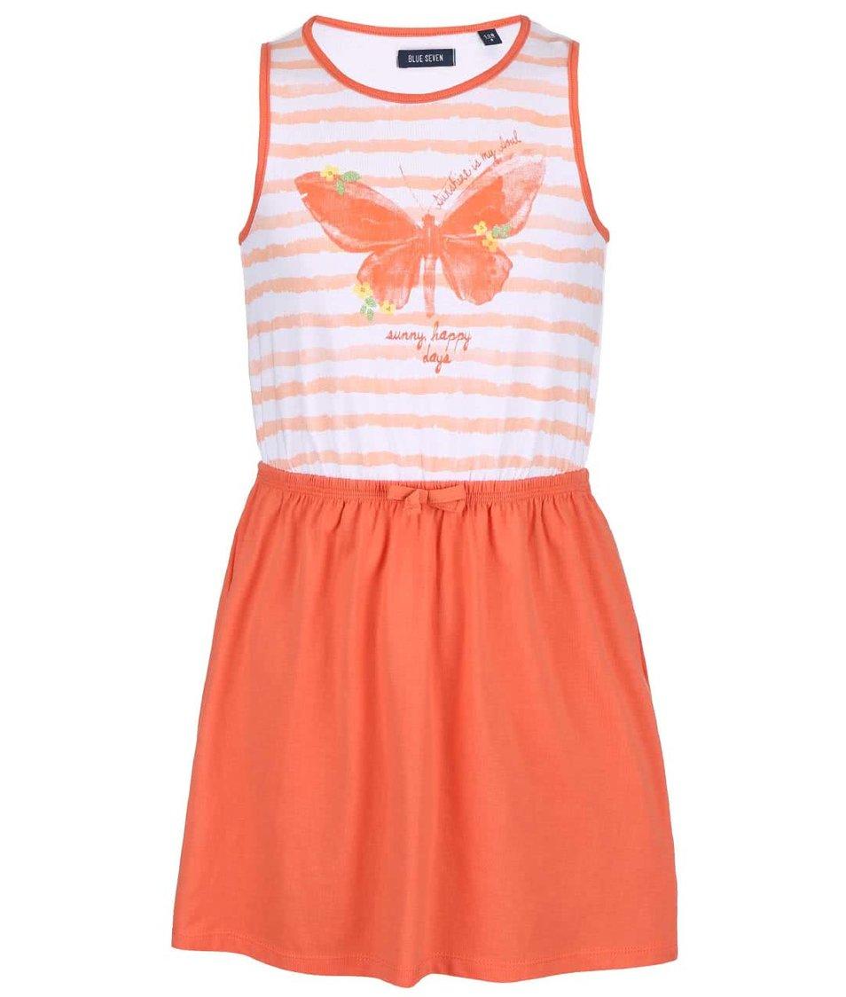 Bílo-oranžové holčičí šaty s potiskem motýla Blue Seven