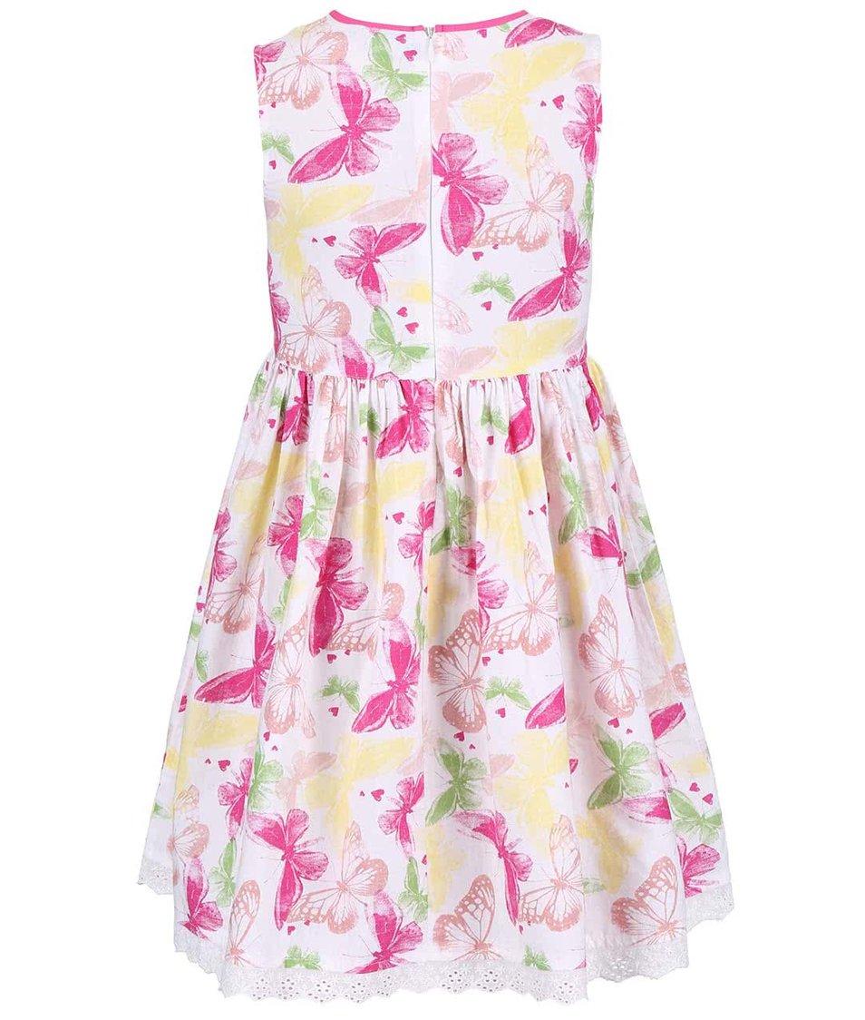 Bílé holčičí šaty s barevnými motýly Blue Seven