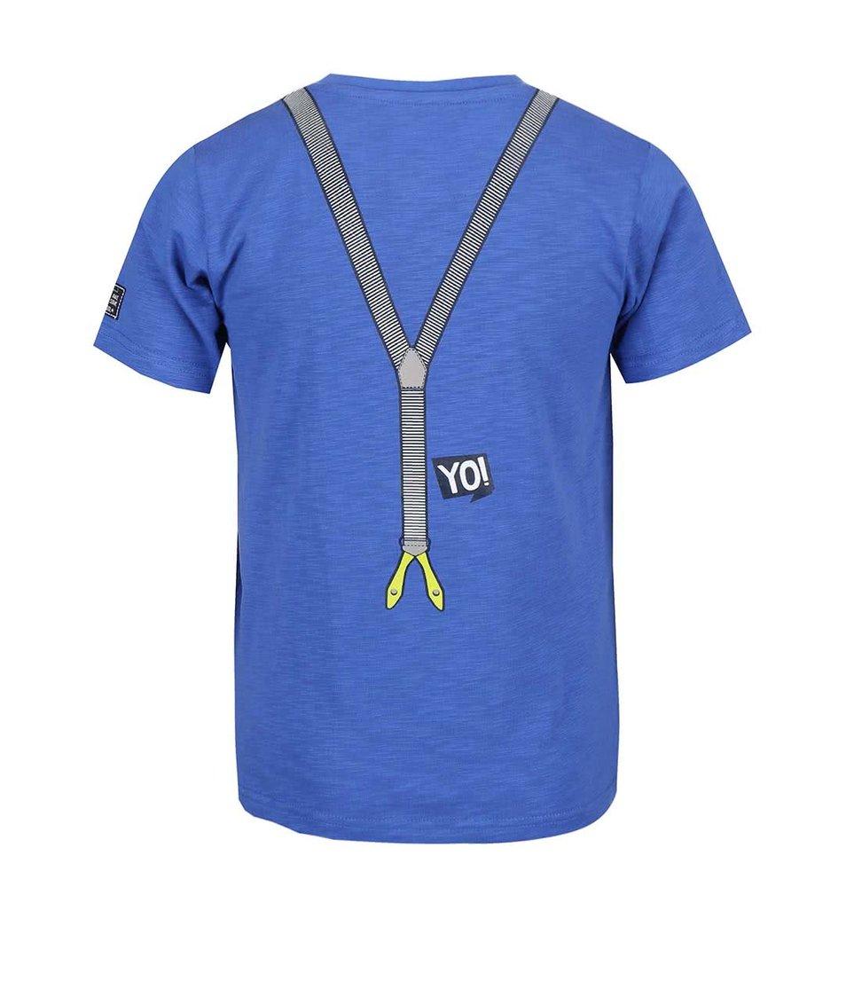 Modré klučičí tričko s knoflíky a potiskem kšand Blue Seven
