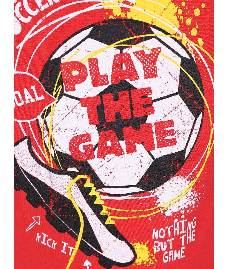 Červené klučičí tričko s potiskem fotbalového míče Blue Seven