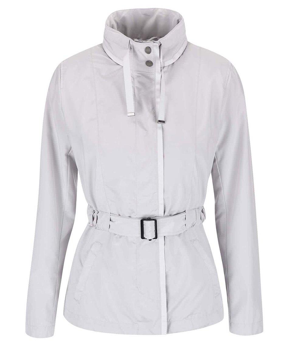 Světle šedý kabát s páskem Geox