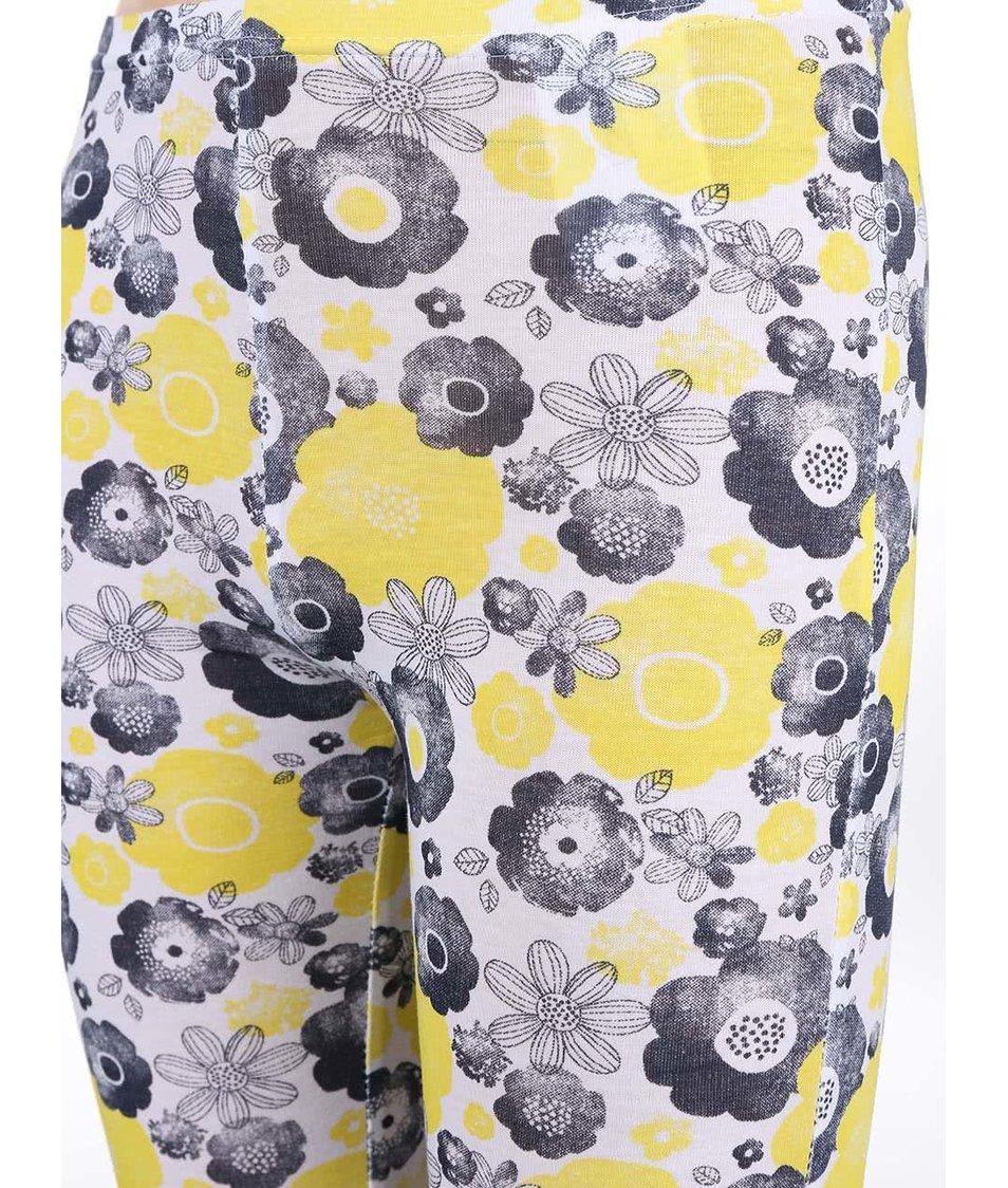Bílé holčičí legíny se žlutými a černými květinami Blue Seven