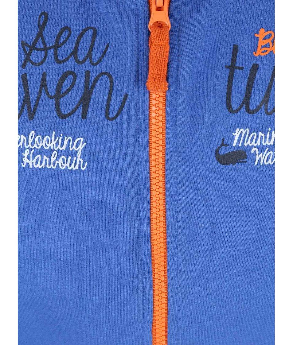Oranžovo-modrá klučičí mikina s potiskem Blue Seven