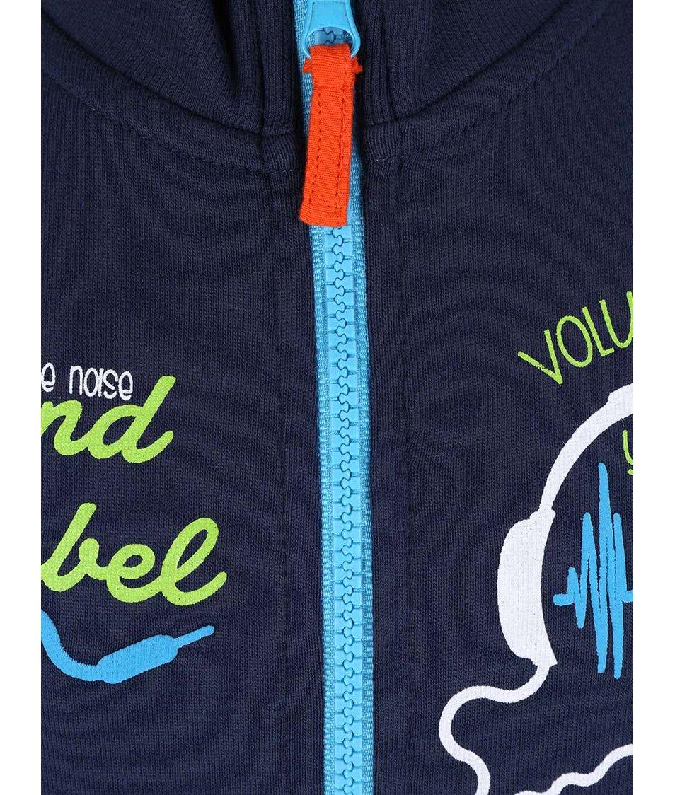 Tmavě modrá klučičí mikina s potiskem sluchátek Blue Seven