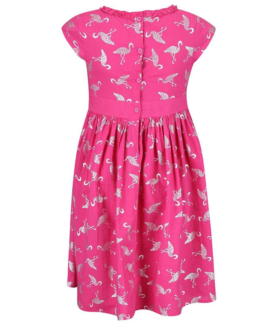 Růžové holčičí šaty s potiskem plameňáků Blue Seven