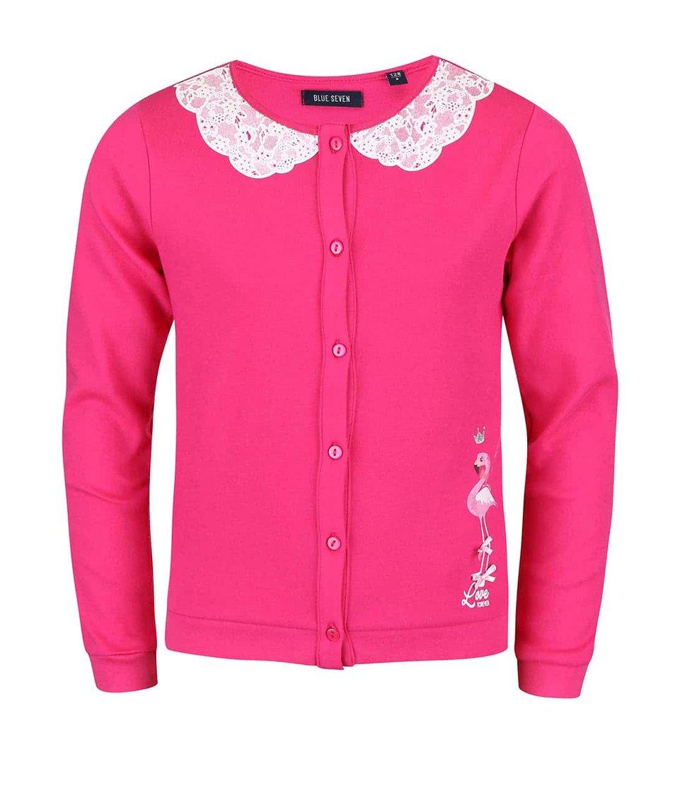 Růžový holčičí svetr s krajkovaným límcem Blue Seven