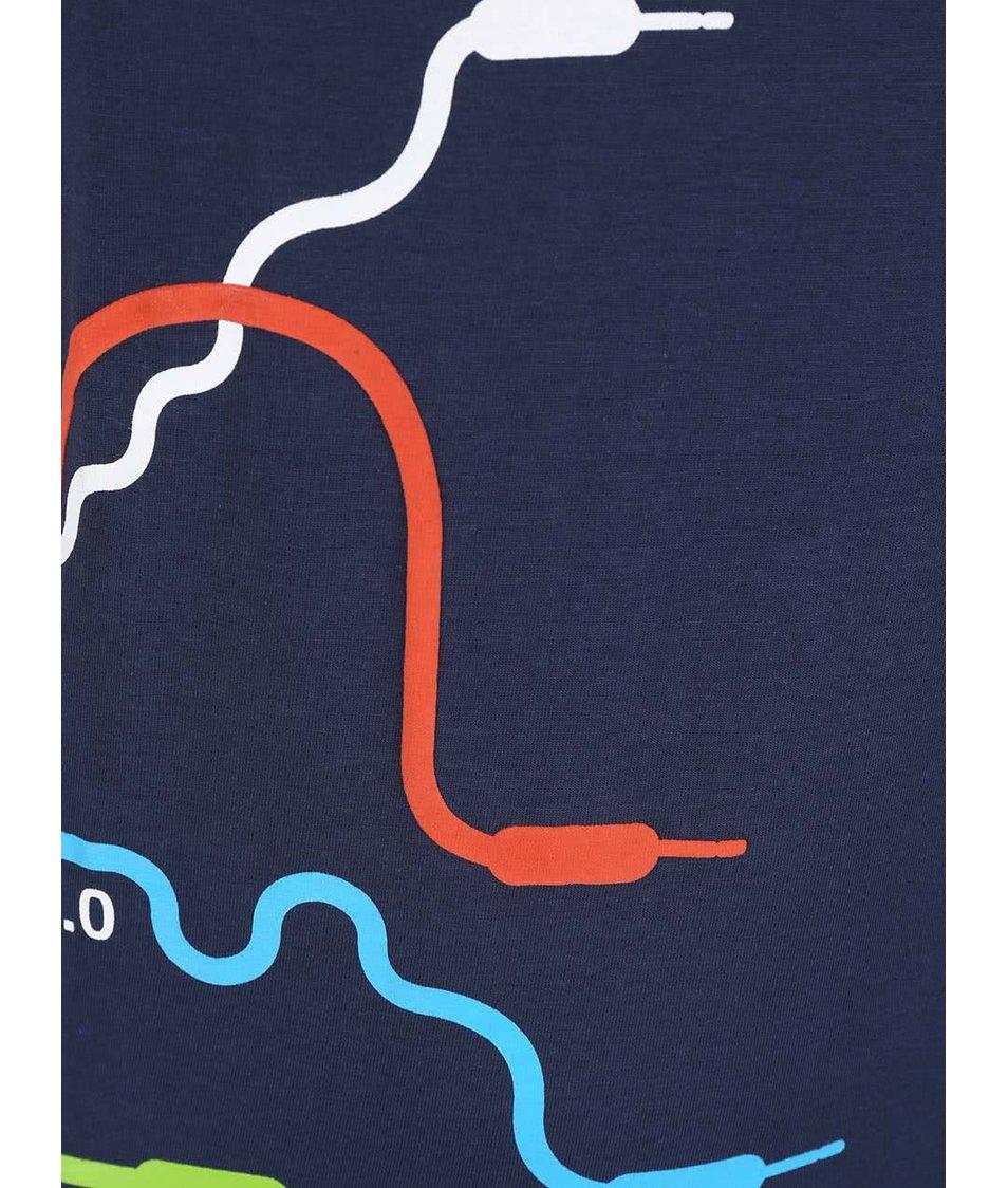 Modré dětské triko s potiskem kabelů Blue Seven
